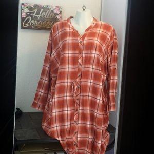 W Within ls orange plaid flannel mini dress 28